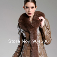 Christmas gift sheep skin leather women  long coat+big  fox fur collar + feather lining down outerwear + Fashion+Free Shipping!