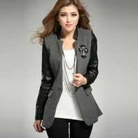 2013 autumn and winter slim medium-long one button blazer PU patchwork long-sleeve slim woolen outerwear female