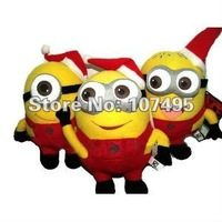 EMS Free Shipping 100pcs/Lot Despicable Me 3D Eyes Christmas Red Plush Toys Minions 9'' Dolls Stuffed Animals Toy Xmas Gifts