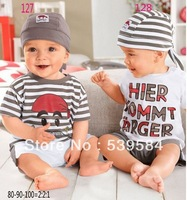 245 free shipping Retail 1 set Top Quality baby clothing set casual boy hat+tops+shorts kid 3pc suit 2 style in stock
