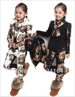 2014 Hot Sale  NEW Arrival Children Girl Clothing Set Three-piece Tiger Head Vest+T shirt+Pants Girl Suit Winter 2 colors