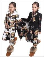 2014 Hot Sale  NEW Arrival Children Girl Clothing Set Three-piece Tiger Head Vest+T shirt+Pants Girl Suit Winter 2 colors