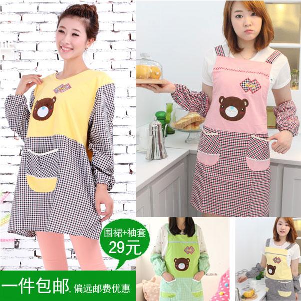 Aprons oversleeps bandanas aprons long-sleeve fashion women's cotton cloth cartoon apron work wear(China (Mainland))