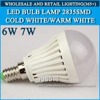 Wholesale 150PCS LED bulb lamp High brightness E14 6W 7W 2835SMD Cold white/warm white AC220V 230V 240V Free shipping