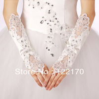 Free shipping 2013 New Arrival exquesite custom Satin Beading fingerless long white elbow length bridal wedding gloves Hot Sale