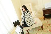 2014 Autumn Winter Fashion Women Black White Stripes Fur Coats Warm Jacket Ladies Elegant Outerwear in Stock Free Shipping A597