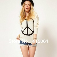 Plus Size Long Sleeve Brand Women Cardigan Sweater 2013 New Lady Peace Pullover O Neck Color Beige