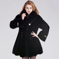 2013 winter big size xxxxl fur coat medium-long marten velvet mink fur slim overcoat with a hood 363