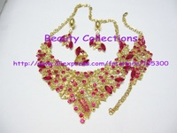 Free Shipping! African costume jewelry set, including necklace,earrings,bracelet and ring JE584 fushcia