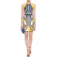 Runway Fashion Wholesale & Retail Ethnic printed round neck sleeveless dress was thin waist KC221  Free shipping