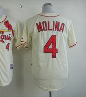American Baseball Jersey #4 Yadier Molina Cream Cool Base Baseball Jerseys Men's Size 48-56 All Stitched(Sewn on)