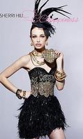 Vintage Black Feather Dress prom dresses