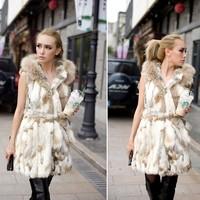 Sweet Ladies Rabbit Fur Vest Vests Real Natural Rabbit Vest Waistcoat Fur With Hood Designer Free Shipping