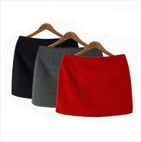 S-XXL Free Shipping Women's Autumn and winter short skirt small a a-line skirt slim hip wool skirt # JJ01