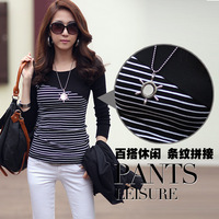 Autumn and winter o-neck long-sleeve slim fashion horizontal stripe patchwork stripe t-shirt basic shirt