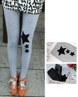 Free Shipping NEW 100%Cotton Star Patchwork On Knee Women's Leggings Wholesale and Retail