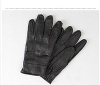 Free shipping fashion warm 100% male money sheepskin leather gloves polar fleece gloves black car