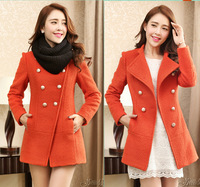 FREE SHIPPING,2013 New Arrive Women Slim Double Breasted Medium Long  Wool Coat, Winter Warm Jacket Coat.