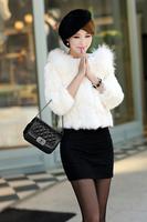 2014 new winter raccoon fur collar rabbit fur sleeve female short coat Discounted  free shipping