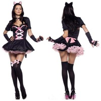 Free shipping 2014 Christmas clothes cosplay uniform ds costume cat women's wear cat women's masquerade party