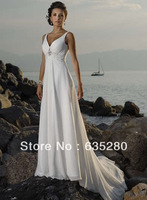 New Elegant V-neck Beach Wedding Dresses Fashion Beaded Chiffon w116