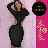 Free Shipping New Arrival Bodycon Color Black Hot Sale Dresses Sexy Bodycon Hollow Out Bandage Dress       R77321