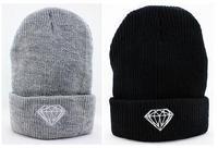 Hot Sale High Quality DIAMOND BRILLIANT FOLD Beanie Hat Football Skullies Wool Winter Warm Knitted Caps For Man Woman