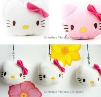 120PCS Plush Stuffed TOY DOLL , Mini 4CM Hello Kitty ;  Mobile Cell Phone Strap Pendant Charm Strap Lanyard Key Chain