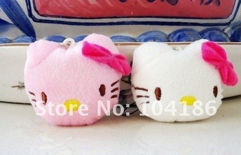 120PCS/LOT Plush Stuffed TOY; Kawaii 4CM  Hello Kitty DOLL Cell Mobile Phone Strap Charm Pendant Chain Lanyard BAG KEY Chain