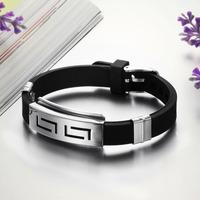 OPK JEWELRY Wholesale Price Genuine Silicone Men Bracelet & Bangle Fashion Jewelry width 10mm infinity,