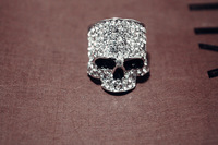 Wholesales 10pcs/lot famous brand Rock Style finger skull crystal ring skeleton shape shinny look till death do us apart ring
