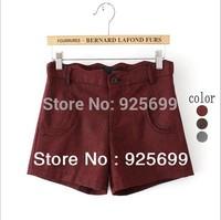 New Arrival Winter Autumn Lady Shorts Korea Style Cute Stripes Woolen Pockets Casual Female Short Stylish Women Wave Waist