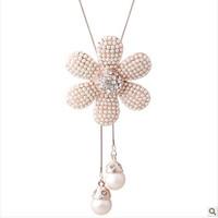 New Fashion Women Long pearl sweater chain free shipping