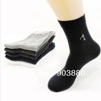 Free shipping male fiber cotton sports socks casual men's solid color half tube socks 20pairs/lot