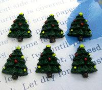 20Pcs Dark Green Resin Christmas Tree Flatback Cabochon Scrapbook 24x19mm