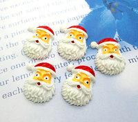 20Pcs White Resin Christmas Santa Claus Head Flatback Cabochon Scrapbook 30x22mm
