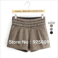 Freeshipping Winter Autumn Lady Shorts Korea Style Cute Stripes Woolen Pockets Casual Female Short Women Wave Waist