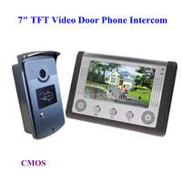 Door Phone 7 Inch TFT Monitor LCD Color Video DoorPhone Intercom Night Vision DoorBell Rings Free Shipping