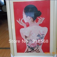 Free Shipping Arts and crafts cross stitch finished body painting (already framed) Hot Selling
