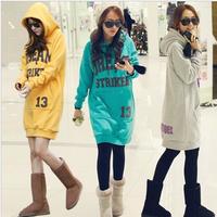 2013 women's loose long design hoodie outerwear with a hood sweatshirt plus size outerwear pullover female sweatshirt dress