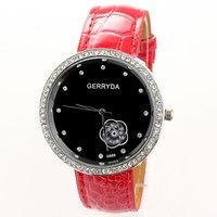 New 2013 free shipping women dress quartz watches PU material wrist band Fashion Lovely Ladies Watch