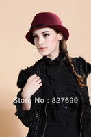 Fashion fedoras wowot roll-up hem bow hat millinery cap autumn and winter cap