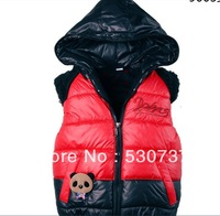 2013 girl vest child thermal vest outerwear female child with a hood down vest cotton