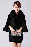2013 New Frrival Promotion Sale Fox Fur Rex Rabbit Fur Coat Women's Fur Coat Top Cape Free shipping