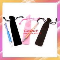 MOQ 10pcs/lot velvet pen bag,pen holder for 14cm 12cm crystal pen pouch with string black/blue/red/coffee/pink color for choice