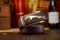 new 2014  best selling 100% Fashion hot saling genuine Leather leopard Shape Metal Buckle Belt for men and women,