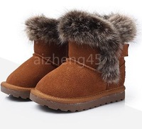 free shipping 2013 winter children snow boots, boys and girls genuine leather baby Cotton shoes, child  fox fur 21 - 30