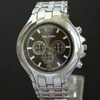 Orlando Brand Stainless Steel Luxury Brand Quartz Watches Fashion Free Shipping Wristwatch For Men Rolland