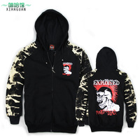 Individuality sweatshirt male outerwear punk loose top flower zipper with a hood skull sweatshirt
