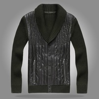 Fur one piece high quality fashion male casual wear knitted sleeve leather clothing a211-1 nt-13-10 p650
